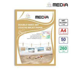Giấy In Ảnh Media 2 Mặt Bóng Sọc (Art Glossy) A4 (21 x 29.7cm) 260g 50 tờ – Hàng Nhập Khẩu