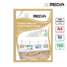 Giấy In Màu Media 2 Mặt Lụa (Semi Glossy) A4 (21 x 29.7cm) 160gsm 50 tờ – Hàng Nhập Khẩu