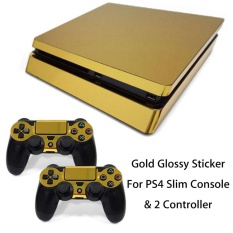 Gold Glossy Sticker Decal Skin For Playstation 4 PS4 Slim Console & 2 Controller – intl