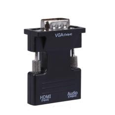 Bộ Chuyển Đổi HDMI Đầu Cái Sang VGA Đầu Đực With Adapter Âm Thanh Support Tín Hiệu 1080 p (Đen) -Quốc Tế