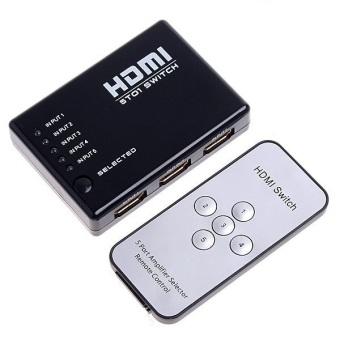 HDMI Switch 5 in 1 out 5 cổng vào 1 cổng ra có điều khiển (Đen)