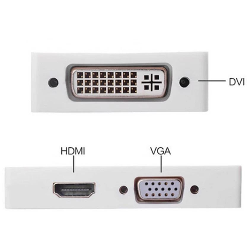 HMDI Converter Mini 1080P Display Port Thunderbolt to DVI VGA HDMI 3 in 1 Converter Adapter for Laptop - intl