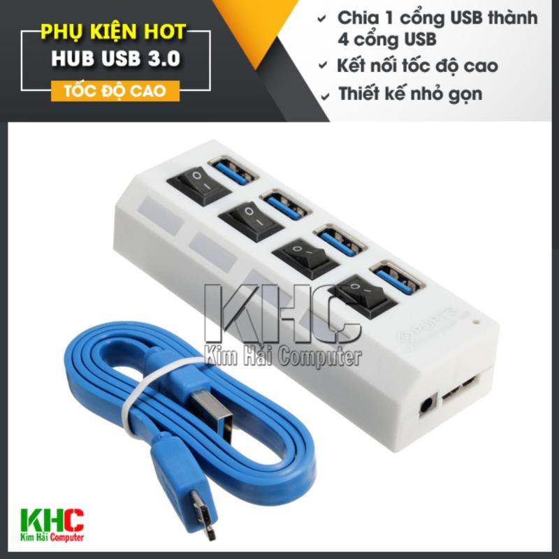 Bảng giá Hub chia 1 cổng USB 3.0 thành 4 Cổng USB 3.0 có công tắc (Trắng) Phong Vũ