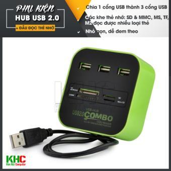 Hub chia 1 cổng USB thành 3 cổng kiêm đầu đọc thẻ nhớ (Xanh lá)