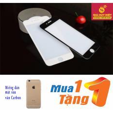 Kính cường lực Full màn hình 3D dành cho Iphone 6 Plus/ 6S (màu trắng) Plus tặng miếng dán Carbon Full mặt sau cao cấp