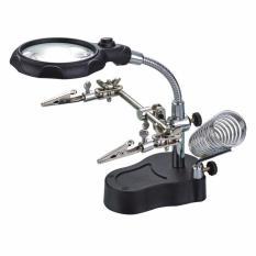 Kính lúp soi kẹp hàn mạch điện tử có 2 đèn led (Đen)