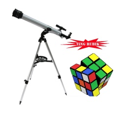 Kính thiên văn khúc xạ OEM D60F700 kèm chân đế điều chỉnh độ cao tặng kèm bộ xếp hình Rubik (Bạc)