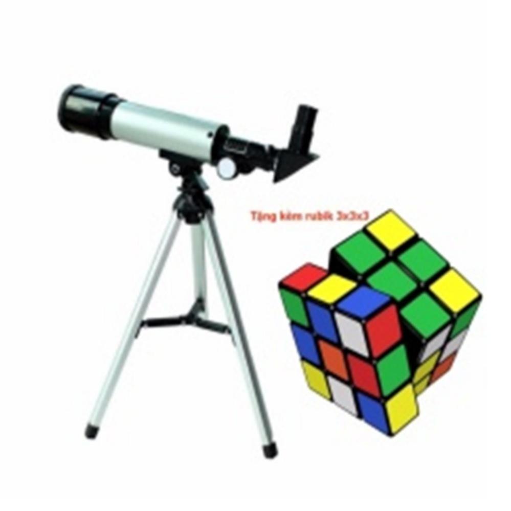 Kính thiên văn khúc xạ OEM F36050 (Bạc) tặng kèm bộ xếp hình rubik 3x3x3 cho bé