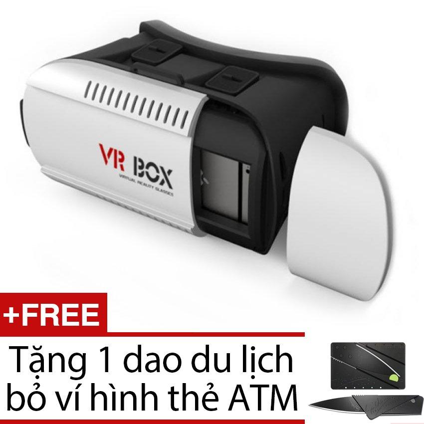 Kính thực tế ảo VR Box 3D + Tặng 1 dao du lịch bỏ ví hình thẻ ATM ( màu đen )