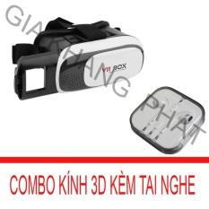 Kính xem phim 3D cho smartphone (Đen) + Tai nghe nhét tai kiểu dáng Earpod (Trắng) PeepVN Combo 652