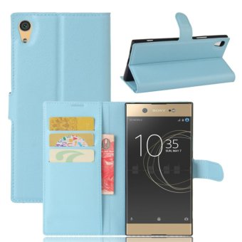 Leather Flip Cover Protective Case For Sony Xperia XA1 Ultra (Blue)- intl