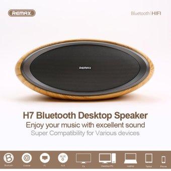 Loa Bluetooth không dây để bàn cao cấp Remax RB-H7 siêu trầm hình bầu dục vân gỗ - Đại Siêu...