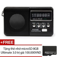 Loa nghe nhạc đa năng Wster WS-239 (Đen) + Tặng 1 thẻ nhớ microSD 8GB Ultimate 3.0