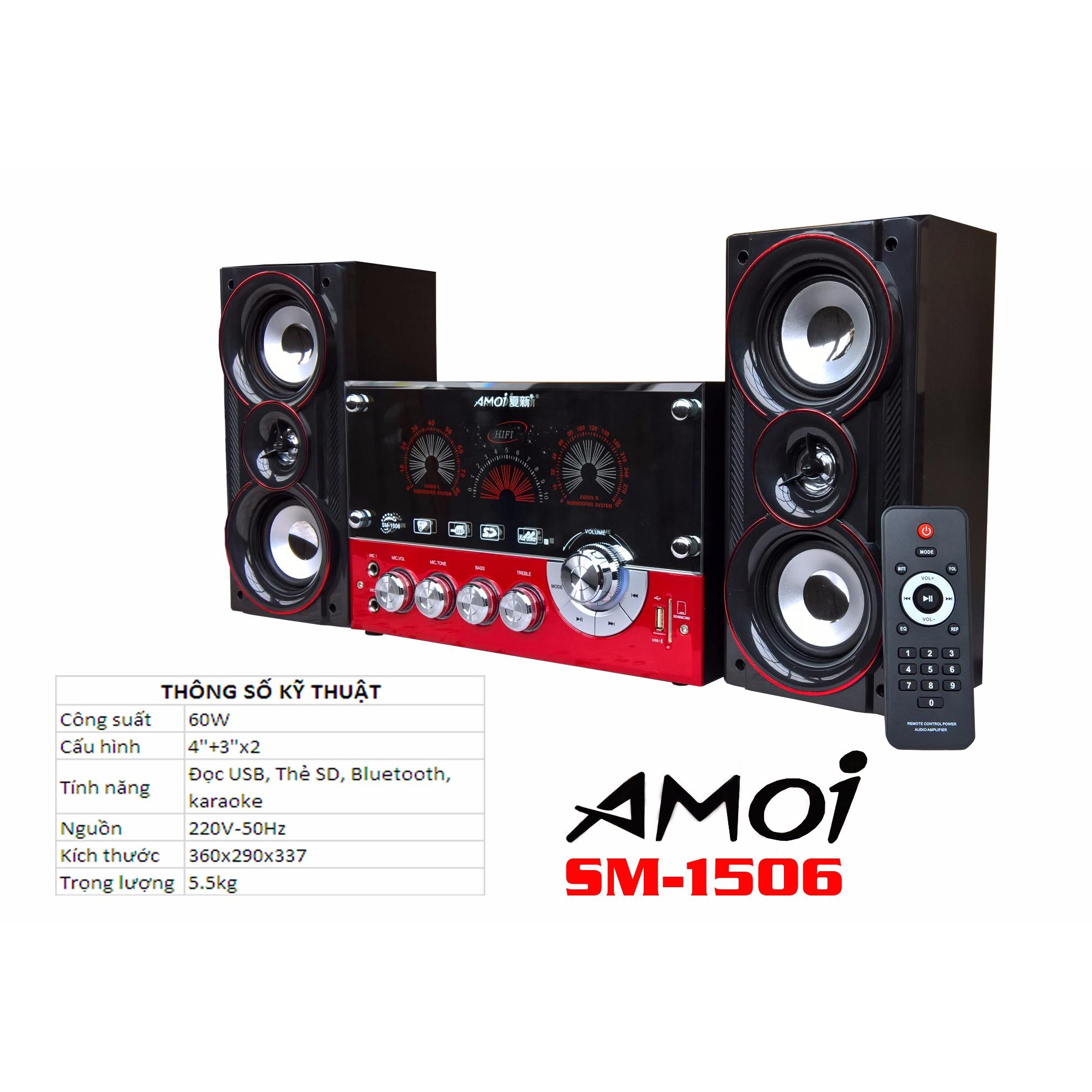 Loa vi tính bluetooth 2.1 đọc USB, FM, DK AMOI SM-1506 (Đen)