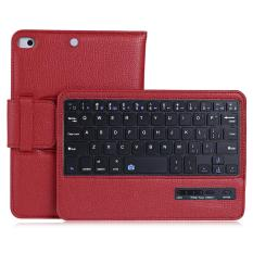 Vải thiều Da Có Thể Tháo Rời Bàn Phím Bluetooth không dây Từ Đứng Folio Bao Bảo Vệ cho iPad Mini 1/2/3/ 4 (đỏ) -quốc tế