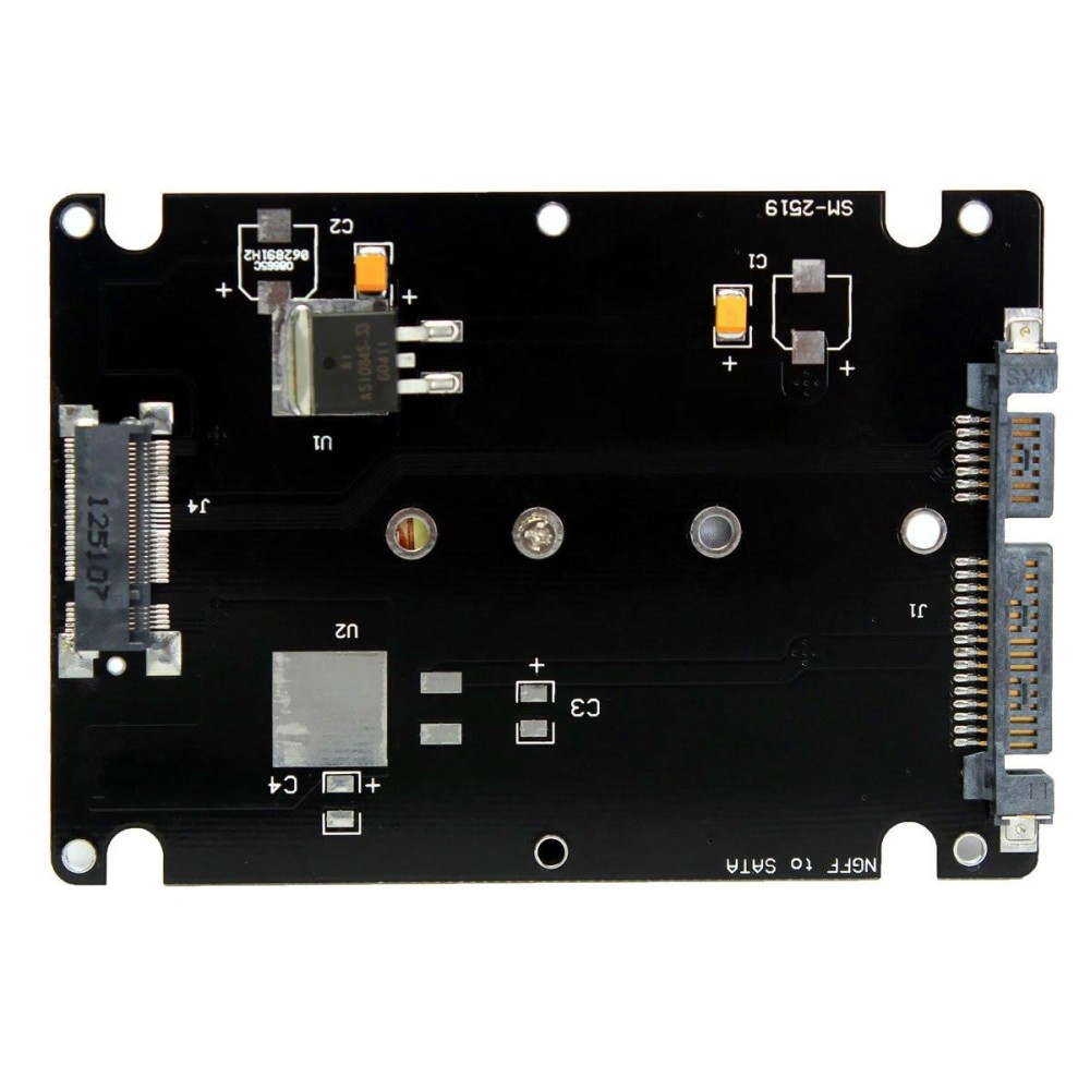 """Nên mua M.2 NGFF (SATA) SSD 2.5 """"SATA Adapter Card 8 mét Độ Dày kèm Ốp Lưng-Đen-quốc tế ở Audew"""