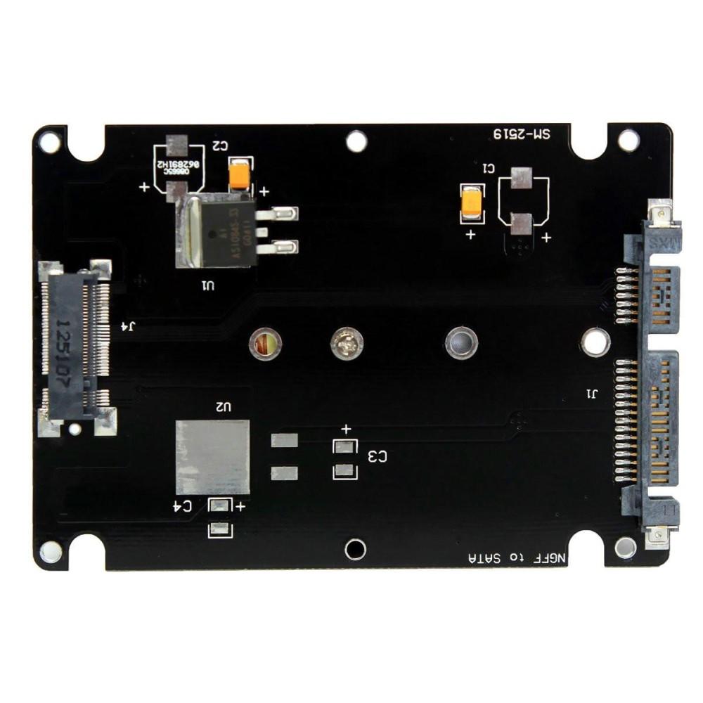 """Giá M.2 NGFF (SATA) SSD 2.5 """"SATA Adapter Card 8 mét Độ Dày kèm Ốp Lưng-Đen-quốc tế Tại Five Star Store"""