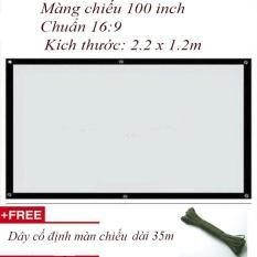Màn chiếu treo tường 100 inch Tỷ lệ 16:9 + Tặng dây cố định treo tường 35m