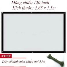 Màn chiếu treo tường, dán tường 120 inch – Kích thước: 2.65 x 1.5m + Tặng dây treo cố định màn chiếu 35m