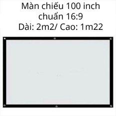 Màn máy chiếu 100 inch chuẩn 16:9 cho gia đình chất liệu PVC cao cấp