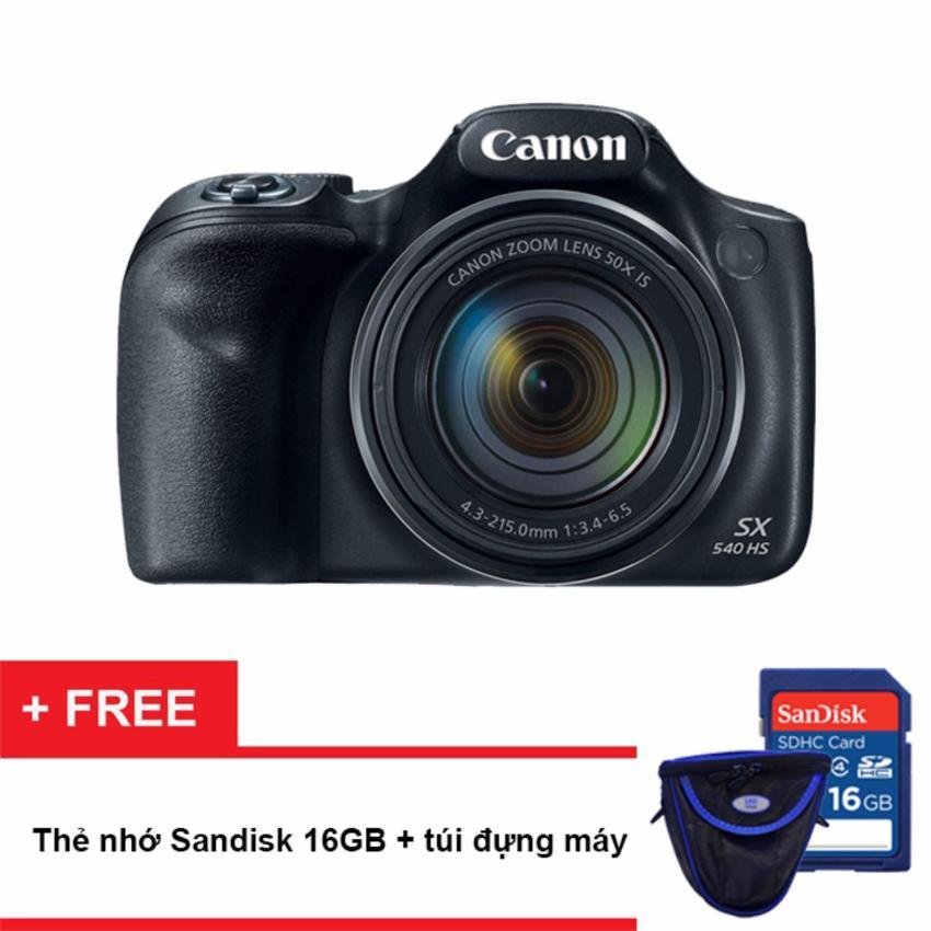 Máy ảnh KTS Canon PowerShot SX540 HS 20.3MP, Zoom quang 50X (Đen) (Hãng phân phối chính thức) - Tặng thẻ nhớ SD 16GB, bao đựng máy