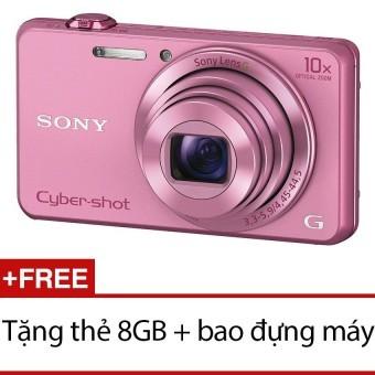 Máy ảnh KTS Sony Cyber-shot DSC-WX220 18.2MP và Zoom quang 10x(Hồng) + Tặng thẻ 8GB + Bao đựng máy