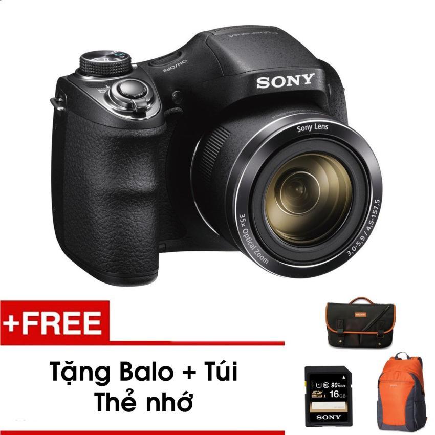 Máy ảnh KTS Sony H300 20.1MP và zoom quang 35x (Đen) - Tặng thẻ nhớ - Túi - Balo du lịch Sony - Hàng phân phối chính hãng