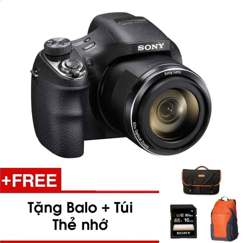 Máy ảnh KTS Sony H400 20.1MP và zoom quang 63x (Đen) - Tặng thẻ nhớ - Túi - Balo du lịch Sony - Hàng phân phối chính hãng