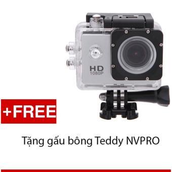 Máy ảnh Mini chống nước chuẩn FULL HD (Bạc) + Tặng 1 gấu bông siêukute NVPRO