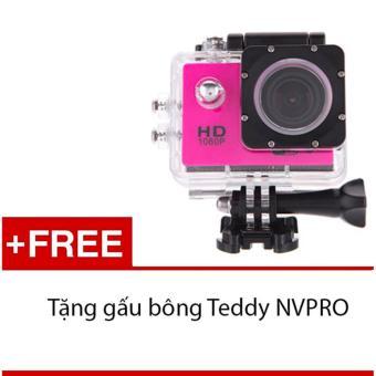 Máy ảnh Mini chống nước chuẩn FULL HD (Hồng) + Tặng 1 gấu bông siêukute NVPRO