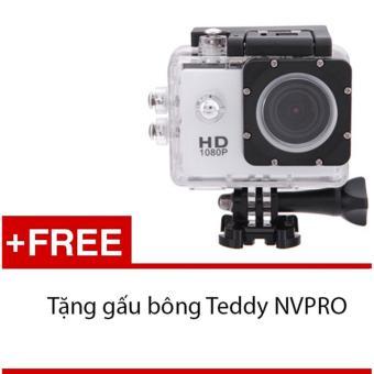 Máy ảnh Mini chống nước chuẩn FULL HD (Trắng) + Tặng 1 gấu bôngsiêu kute NVPRO