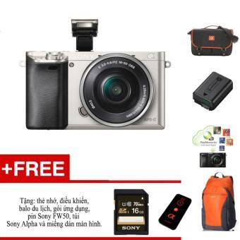 Máy ảnh Sony A6000 + ống kính 16-50 - Màu bạc - tặng thẻ nhớ, túi, balo, miếng dán màn hình, điều kiển,pin Sony FW50 và gói phần mềm.