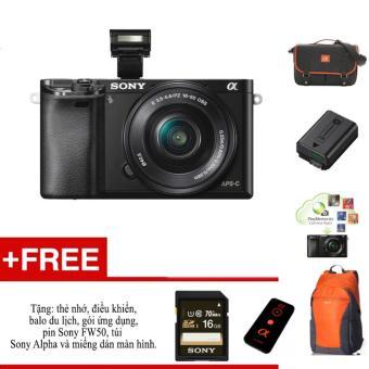 Máy ảnh Sony A6000 + ống kính 16-50 - Màu đen - tặng thẻ nhớ, túi, balo, miếng dán màn hình, điều kiển,pin Sony FW50 và gói phần mềm.