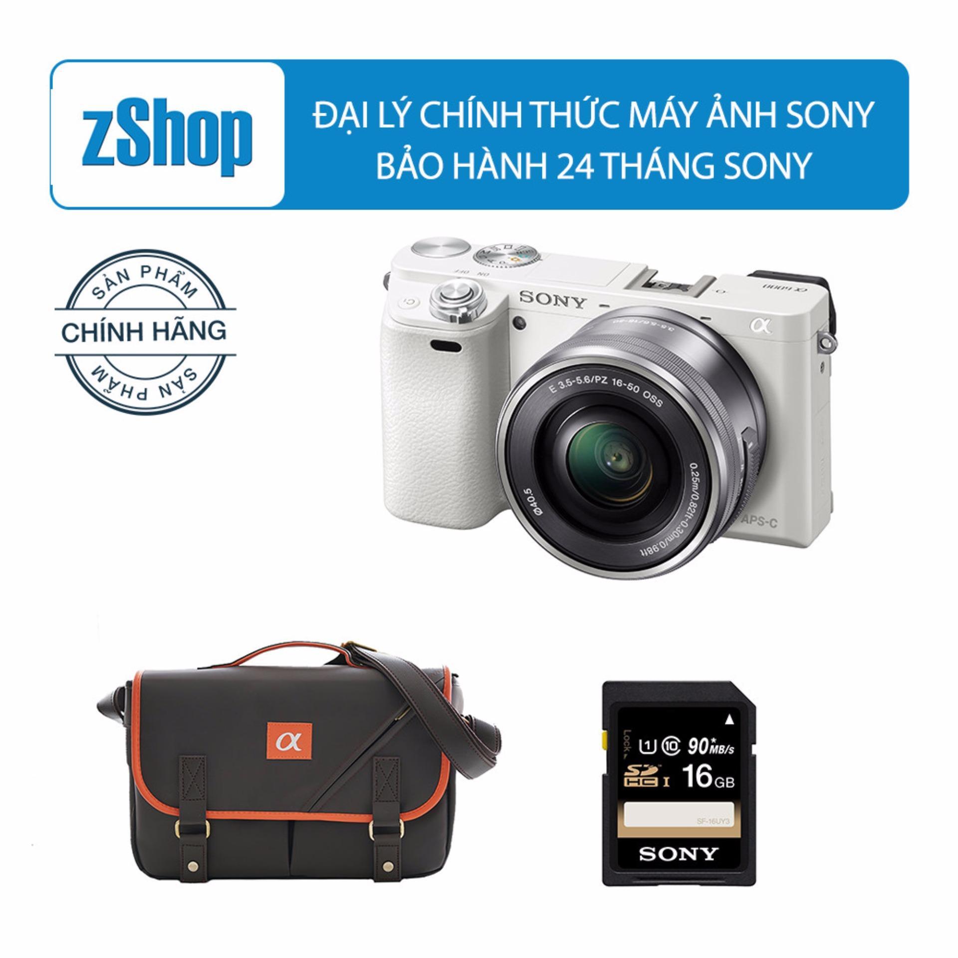 Máy ảnh Sony Alpha A6000 24.3MP với lens kit 16-50mm (Trắng) – Chính hãng + Tặng Thẻ nhớ SD 16GB + Túi Sony