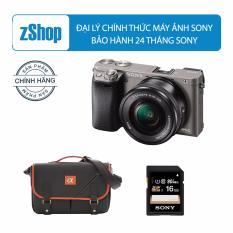 Máy ảnh Sony alpha A6000 24.3MP với lens kit 16-50mm (Xám) – Chính hãng + Tặng Thẻ nhớ SD 16GB + Túi Sony