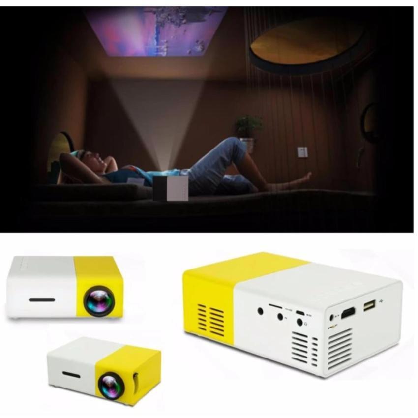 Máy chiếu mini cầm tay YG-300 Full HD (vàng trắng)