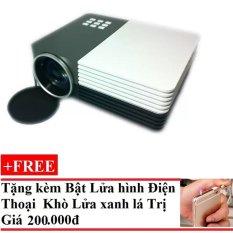 Máy chiếu mini LED GM50 (Đen phối trắng)+Tặng Bật Lửa Hình Điện Thoại