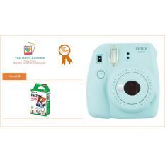 Máy chụp ảnh lấy liền FUJI INSTAX MINI 9 CE BLUE tặng Hộp film instax mini 10/PX (Hàng phân phối chính hãng)