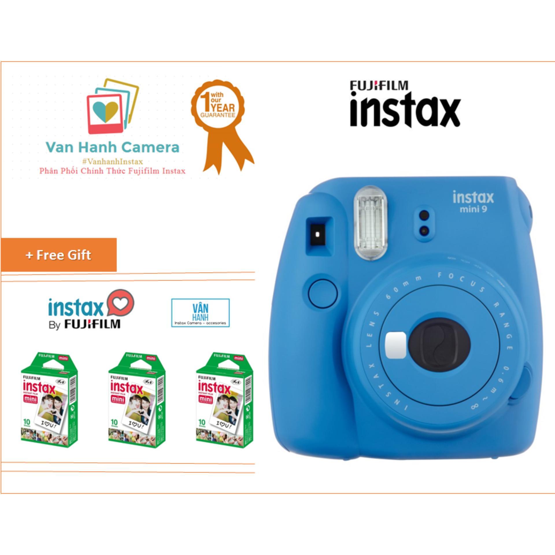Máy Chụp Ảnh Lấy Ngay Fujifilm Instax Mini 9 COB Blue tặng 3 hộp film Instax mini 10/px – Phân phối chính hảng Fujifilm