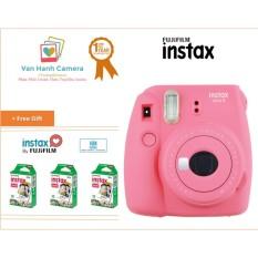 Máy Chụp Ảnh Lấy Ngay Fujifilm Instax Mini 9 Flamingo Pink tặng 3 hộp film Instax mini 10/px – Phân phối chính hảng Fujifilm