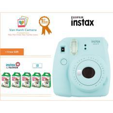 Máy Chụp Ảnh Lấy Ngay Fujifilm Instax Mini 9 Ice Blue và Bộ 5 hộp film Instax mini 10/px – Phân phối chính hảng Fujifilm