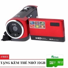 Máy Giá Rẻ Dành Cho Gia Đình ELITEK HD Digital Video 16X + Thẻ nhớ 32GB (Đỏ)