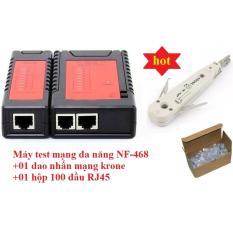 Máy kiểm tra cáp mạng đa năng Noyafa NF-468+Tặng Dao nhấn mạng krone và Hộp 100 đầu mạng RJ45