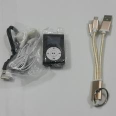 Máy nghe nhạc kẹp áo có màn hình LCD + kèm cáp sạc đa năng treo chìa khóa cho Iphone,Samsung