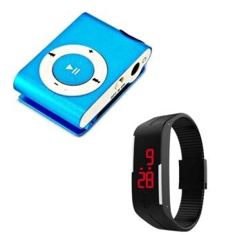 Máy nghe nhạc mp3 vỏ nhôm + Tặng Đồng hồ led thể thao (Đen)