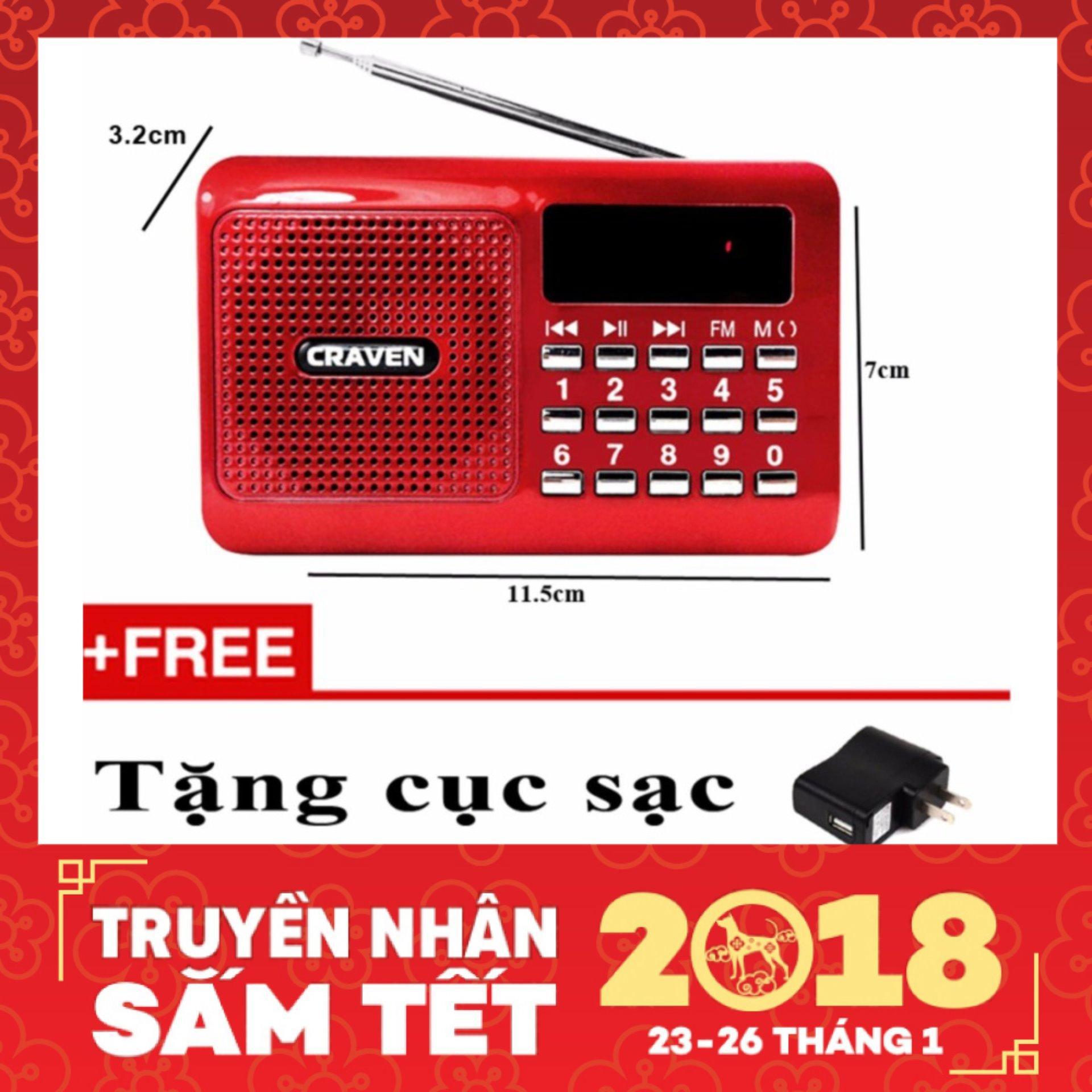 Máy nghe nhạc Thẻ nhớ, USB, FM – Craven CR-16 (Đỏ)