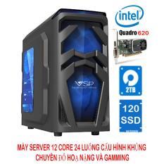 Máy server workstation 12 lõi 24 luồng 32Gb ECC DDR3/120Gb SSD SATA3 (6Gbps) + 2TB HDD/Quadro K620 2G chuyên đồ hoạ (cấu hình 8)