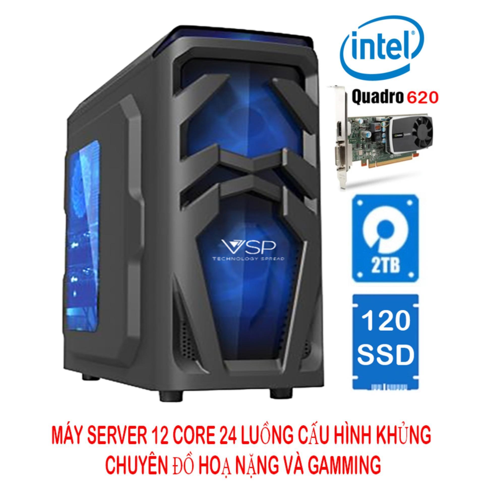 So sánh giá Máy server workstation 12 lõi 24 luồng 32Gb ECC DDR3/120Gb SSD SATA3 (6Gbps) + 2TB HDD/Quadro K620 2G chuyên đồ hoạ (cấu hình 8) Tại HTCARE VN