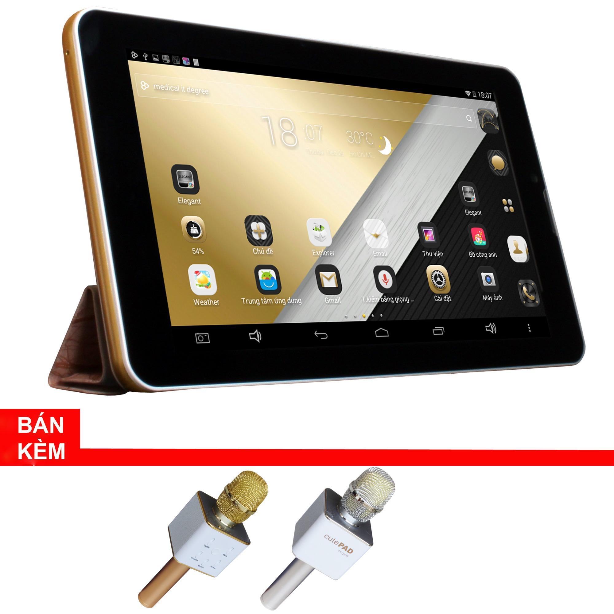 Máy tính bảng cutePad Tab 4 M7047 wifi/3G (vàng gold) + Micro Karaoke tích hợp loa Bluetooth cutePad TX-Q705 ngẫu...