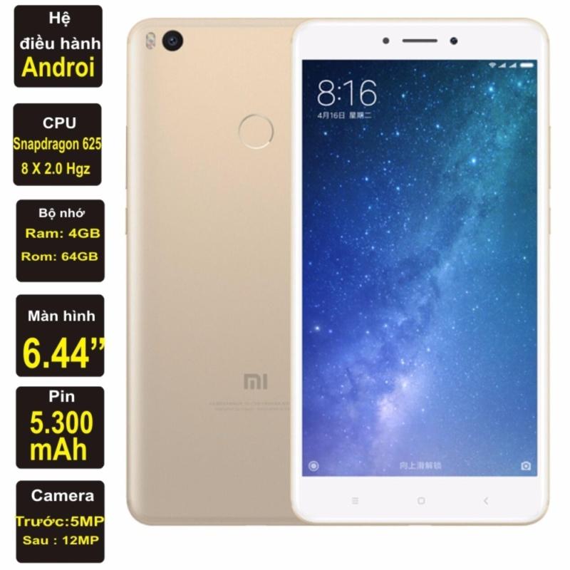 Mi Max 2 64Gb, Ram 4GB, màn hình 6,44 inch, pin 5.300mAh Kim Nhung (Vàng) - Hàng nhập khẩu